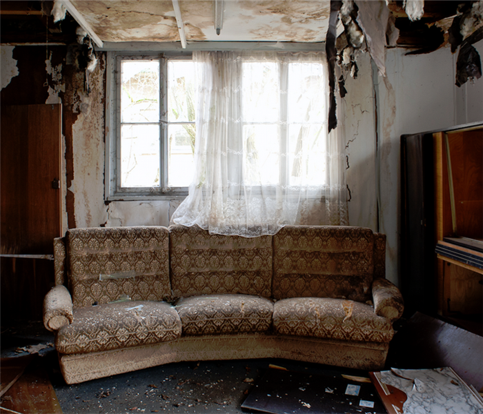 a fire damaged living room