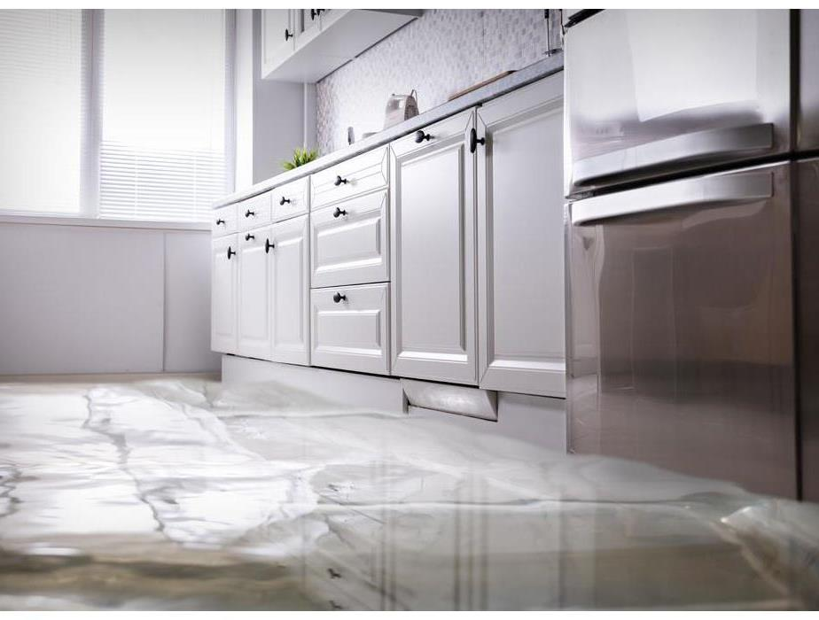 An apartment kitchen with water on the floor