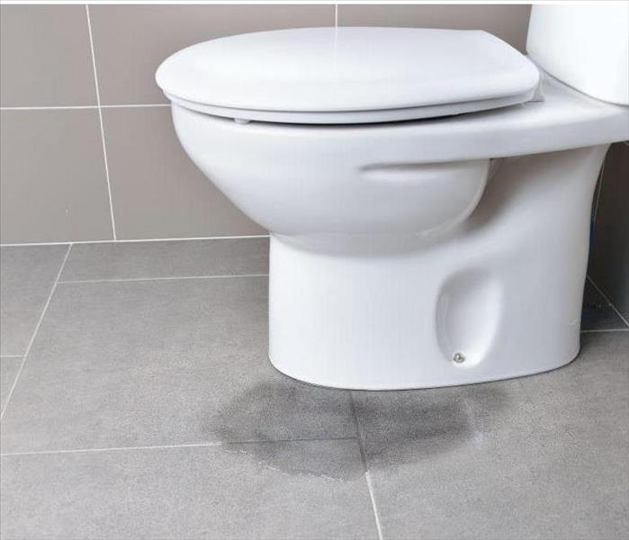 A bathroom toilets showing some leaking water