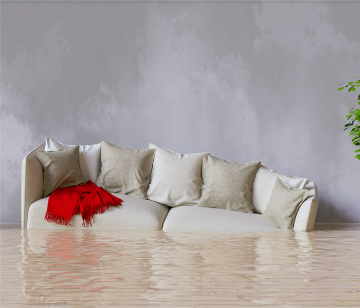 a flooded living room