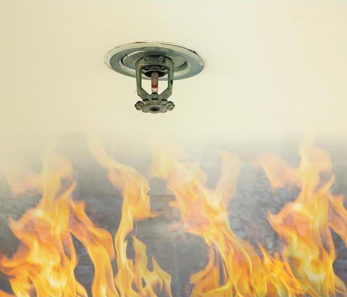 Fire sprinkler head on white ceiling in a building with flames below.
